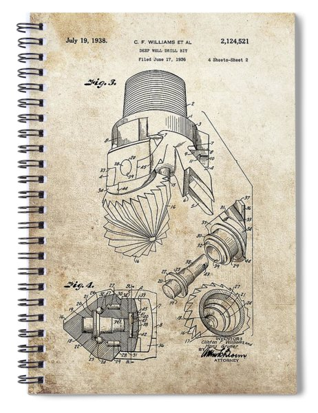 Deep Well Drill Bit Patent Spiral Notebook
