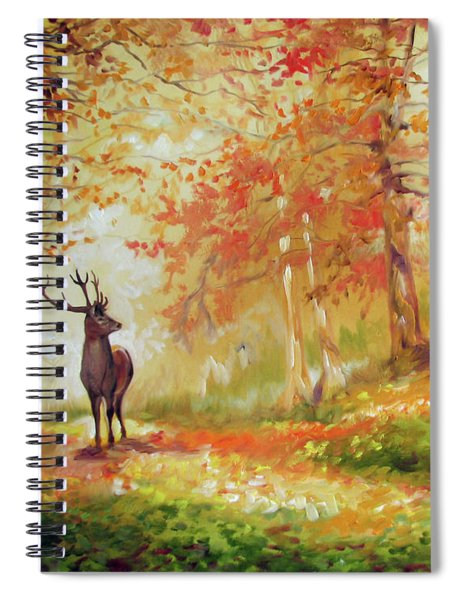 Deer On The Wooden Path Spiral Notebook