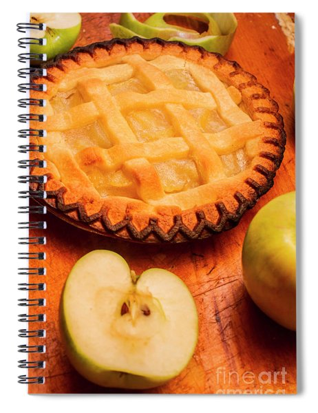 Delicious Apple Pie With Fresh Apples On Table Spiral Notebook