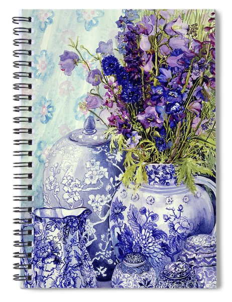Delphiniums With Antique Blue Pots Spiral Notebook