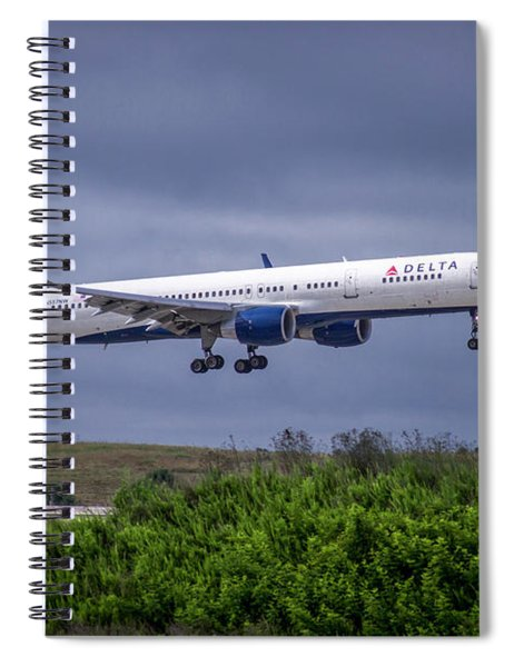 Delta Air Lines 757 Airplane N557nw Art Spiral Notebook