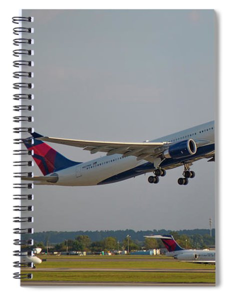 Delta Airlines Jet N827nw Airbus A330-300 Atlanta Airplane Art Spiral Notebook