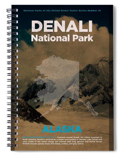 Denali National Park In Alaska Travel Poster Series Of National Parks Number 14 Spiral Notebook