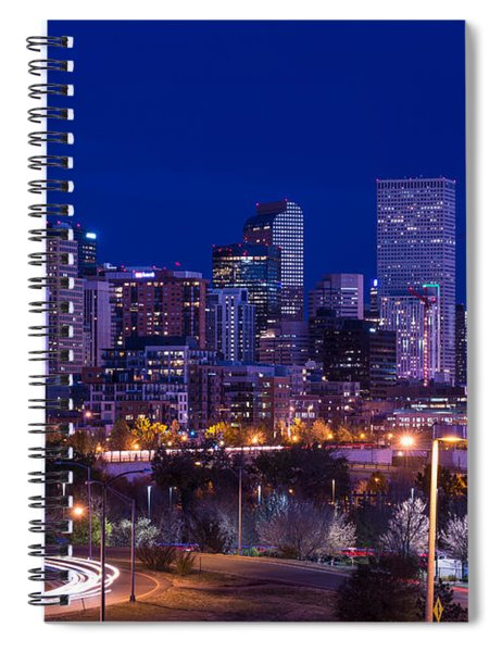 Denver Skyline At Night - Colorado Spiral Notebook