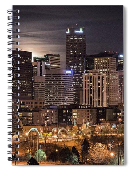 Denver Skyline At Night Spiral Notebook