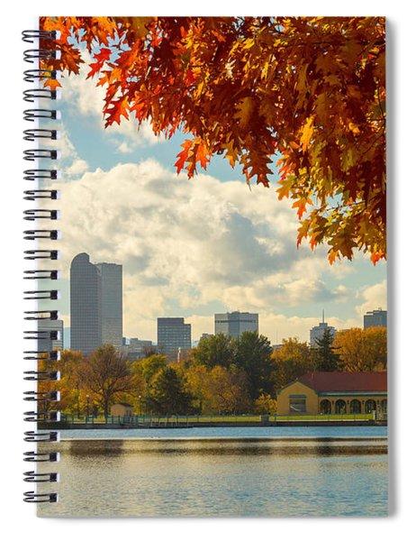 Denver Skyline Fall Foliage View Spiral Notebook