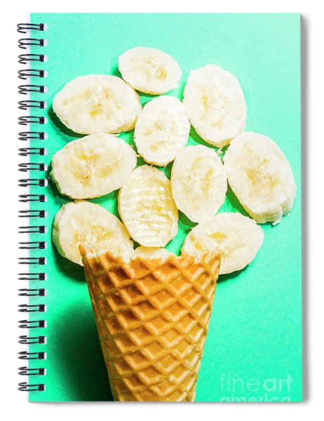 Dessert Concept Of Ice-cream Cone And Banana Slices Spiral Notebook