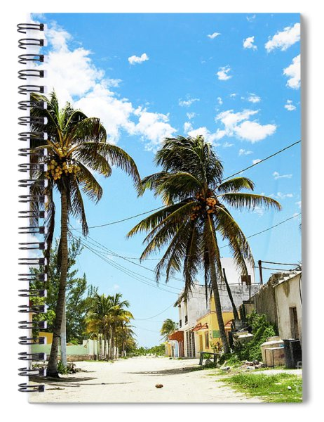 Deserted Mexican Village Road With Coconut Spiral Notebook