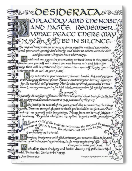 Desiderata-blue Spiral Notebook