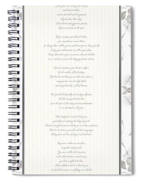 Desiderata In Silver Script By Max Ehrmann Spiral Notebook