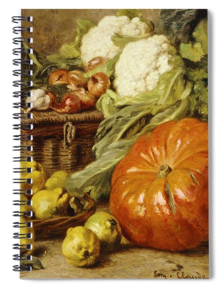 Detail Of A Still Life With A Basket, Pears, Onions, Cauliflowers, Cabbages, Garlic And A Pumpkin Spiral Notebook
