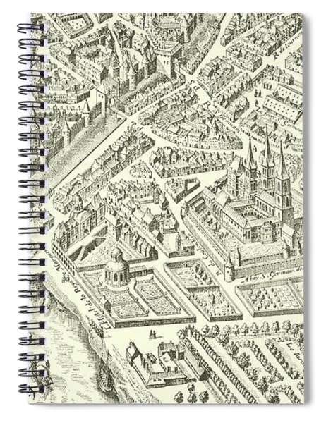 Detail Of A Vintage Map Of Paris Spiral Notebook