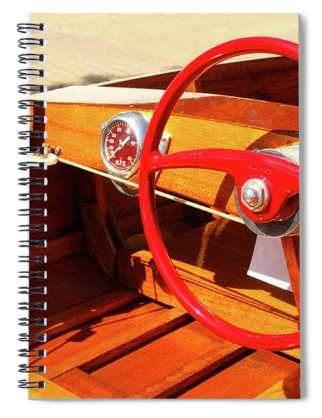Detail Of Wood Speed Boat With Bright Red Steering Wheel  Spiral Notebook