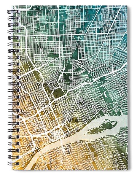 Detroit Michigan City Map Spiral Notebook