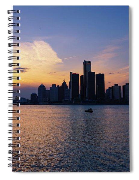 Detroit Skyline Sunset 1 Spiral Notebook