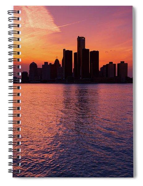 Detroit Skyline Sunset 3 Spiral Notebook