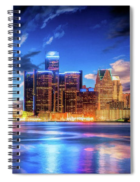 Detroit Skyline Sunset Spiral Notebook