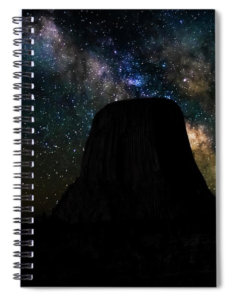 Spiral Notebook featuring the photograph Devils Tower And Milky Way by Scott Read