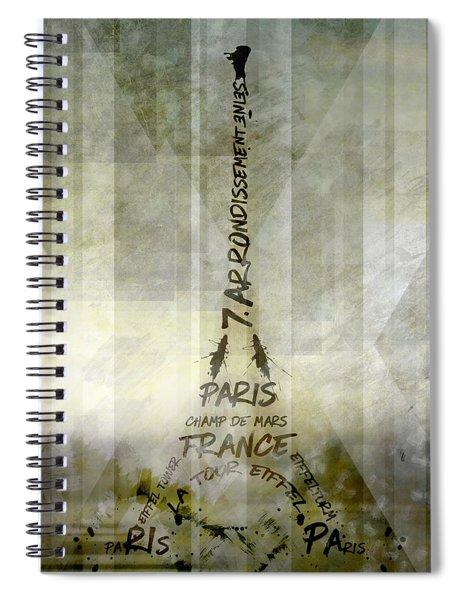 Digital-art Paris Eiffel Tower Geometric Mix No.1 Spiral Notebook