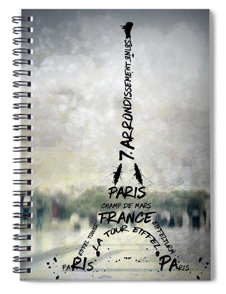 Digital-art Paris Eiffel Tower No.2 Spiral Notebook