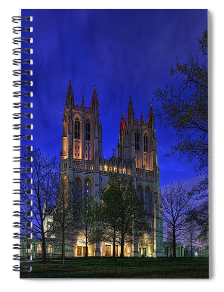 Digital Liquid - Washington National Cathedral After Sunset Spiral Notebook