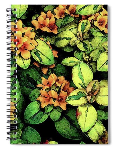 Digital Painting Quilted Garden Flowers 2563 Dp_2 Spiral Notebook