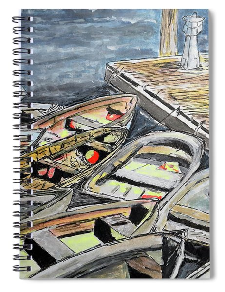 Dinghies At The Dock Spiral Notebook