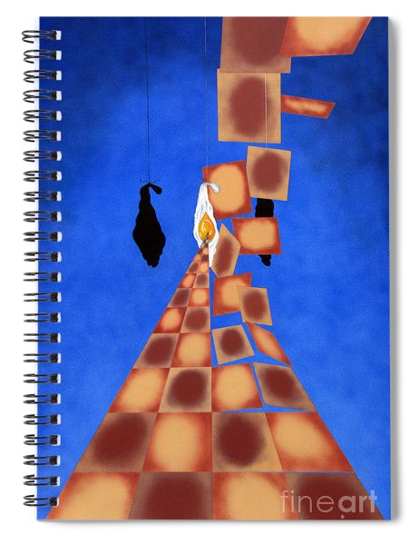 Disrupted Egg Path On Blue Spiral Notebook