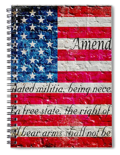 Distressed American Flag And Second Amendment On White Bricks Wall Spiral Notebook