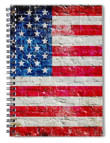 Distressed American Flag On Old Brick Wall - Horizontal Spiral Notebook