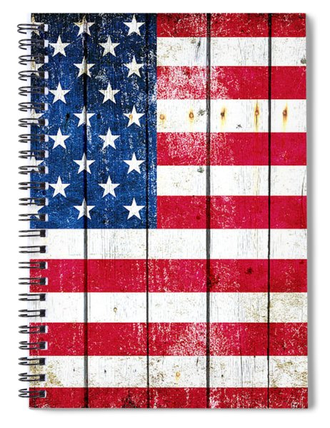 Distressed American Flag On Wood Planks - Horizontal Spiral Notebook