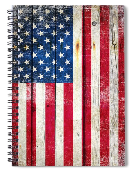 Distressed American Flag On Wood - Vertical Spiral Notebook