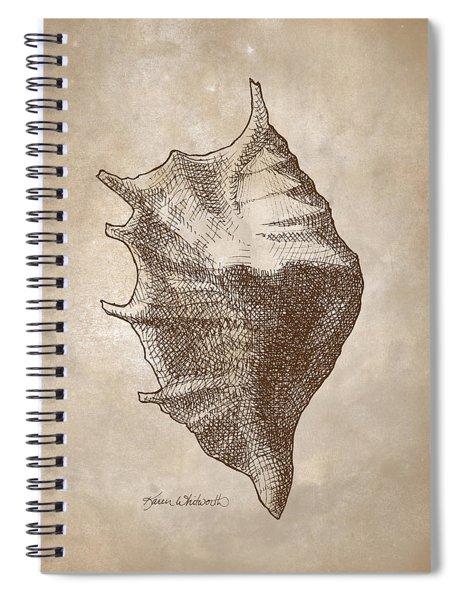 Distressed Vintage Beach Shell Antique Nautical Seashell Coastal Beachcombing Decor Spiral Notebook