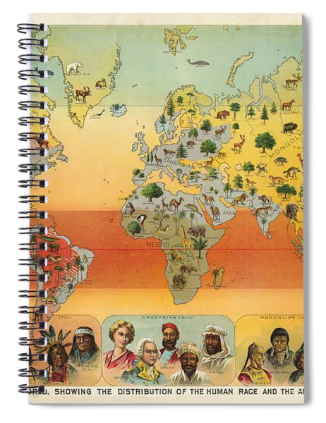 Distribution Of The Human Race - Ethnographic Chart - Historic Chart - Old Atlas - Climatic Chart Spiral Notebook