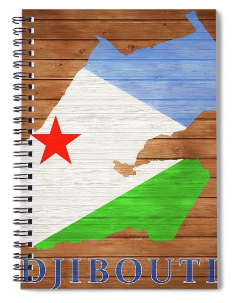 Djibouti Rustic Map On Wood Spiral Notebook