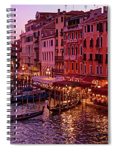 A Cityscape With Vintage Buildings And Gondola - From The Rialto In Venice, Italy Spiral Notebook