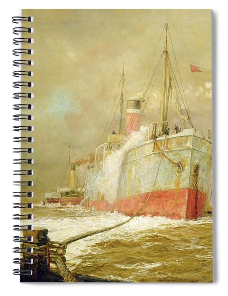 Docking A Cargo Ship Spiral Notebook