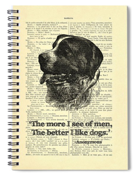 Dog Quote Art Print, I Like Dogs Spiral Notebook