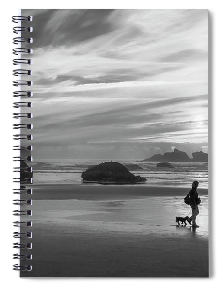 Dog Walker Bw Spiral Notebook