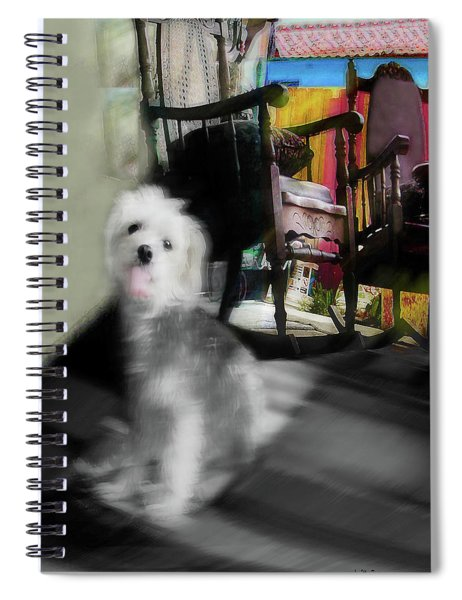 Dogie In The Patio Art  Spiral Notebook