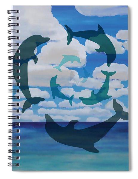 Dolphin Cloud Dance Spiral Notebook