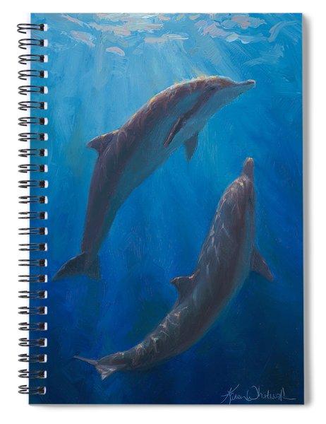 Dolphin Dance - Underwater Whales - Ocean Art - Coastal Decor Spiral Notebook