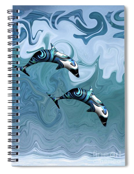 Dolphins Playing In The Waves Spiral Notebook