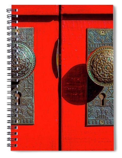 Doorknobs On Red Door Spiral Notebook