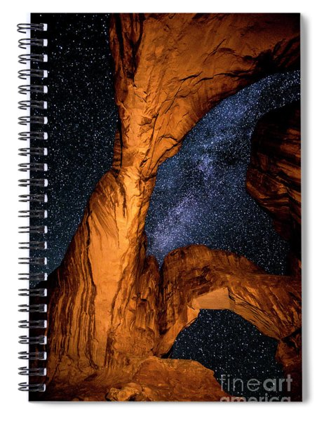 Double Arch And The Milky Way - Utah Spiral Notebook