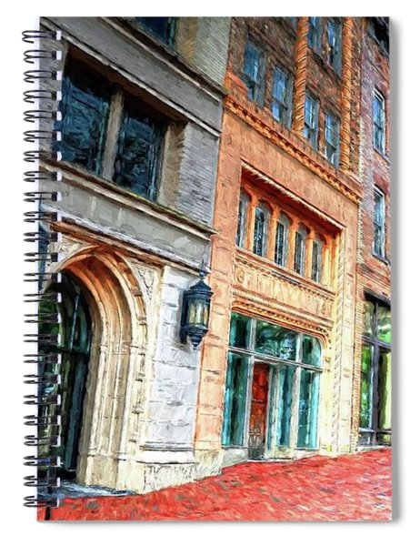 Downtown Asheville City Street Scene II Painted Spiral Notebook