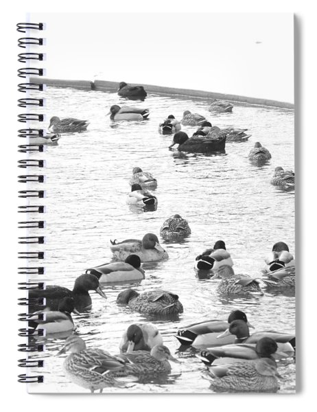 Spiral Notebook featuring the photograph Downtown Columbus Bw1212 by Brian Gryphon