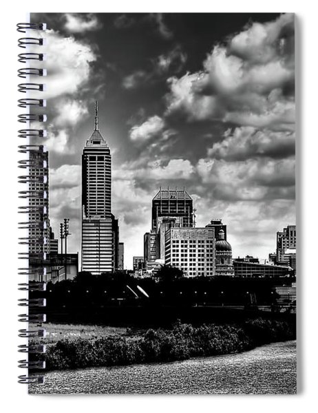 Downtown Indianapolis Skyline Black And White Spiral Notebook