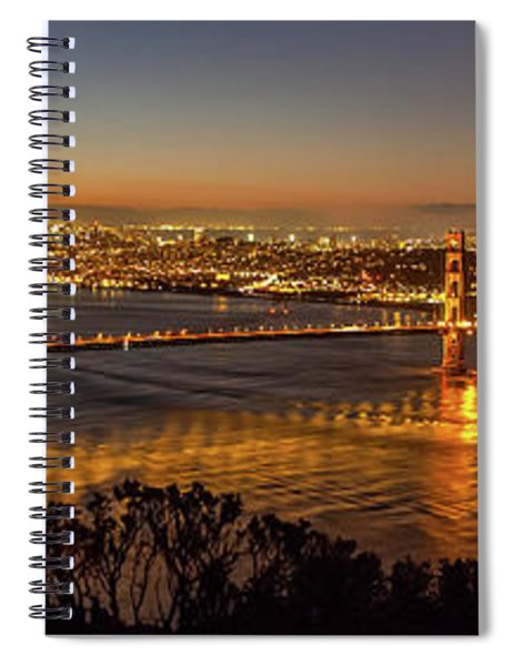 Downtown San Francisco And Golden Gate Bridge Just Before Sunris Spiral Notebook