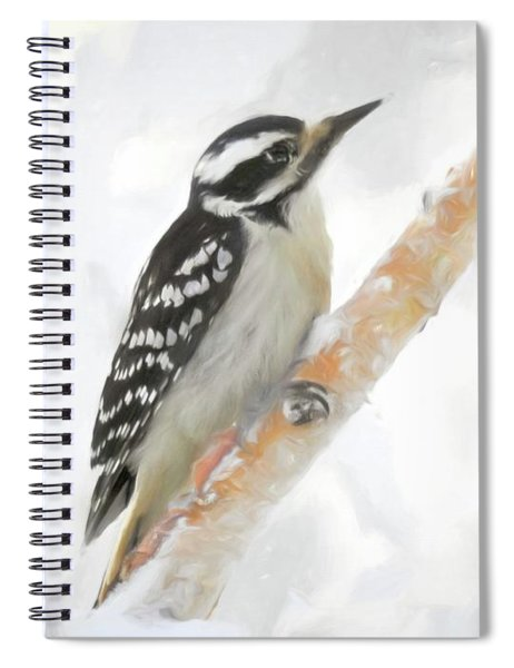Downy Woodpecker Clinging To A Branch. Spiral Notebook